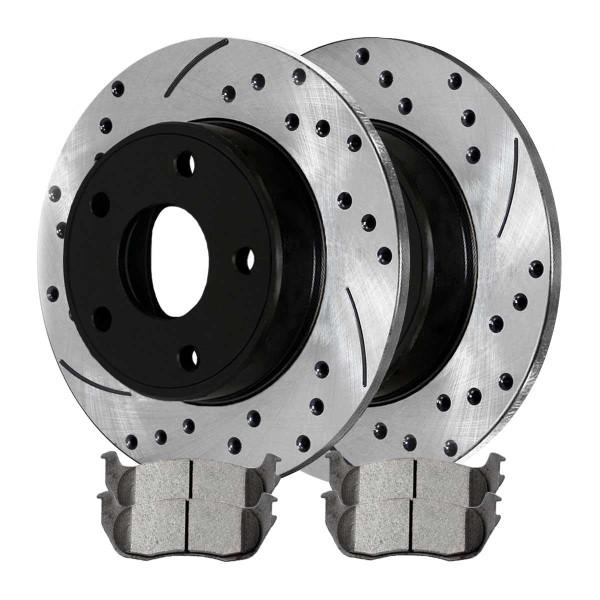 Rear Ceramic Brake Pad and Performance Drilled and Slotted Rotor Bundle 4 Wheel Disc - Part # SCDPR6410064100881