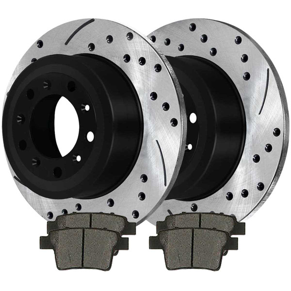 Rear Ceramic Brake Pad and Performance Drilled and Slotted Rotor Bundle - Part # SCDPR64127641271071