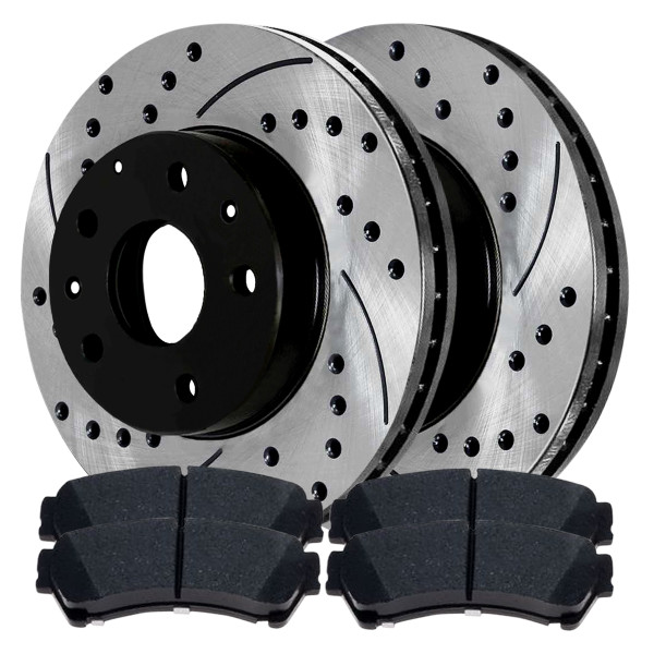 Performance Drilled and Slotted Rotors Pair + Ceramic Brake Pads Set - Part # SCDPR64144641441192