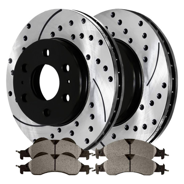 Front Ceramic Brake Pad and Performance Rotor Bundle - Part # SCDPR64155641551278