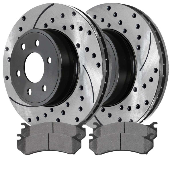 Performance Drilled and Slotted Rotors Pair + Ceramic Brake Pads Set - Part # SCDPR6505665056785