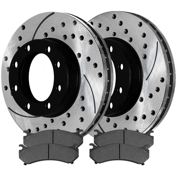Rear Ceramic Brake Pad and Performance Drilled and Slotted Rotor Bundle 4 Wheel Disc 330mm By 86.86mm Rotors with 4.63 Inch Center Hole - Part # SCDPR6505965059785
