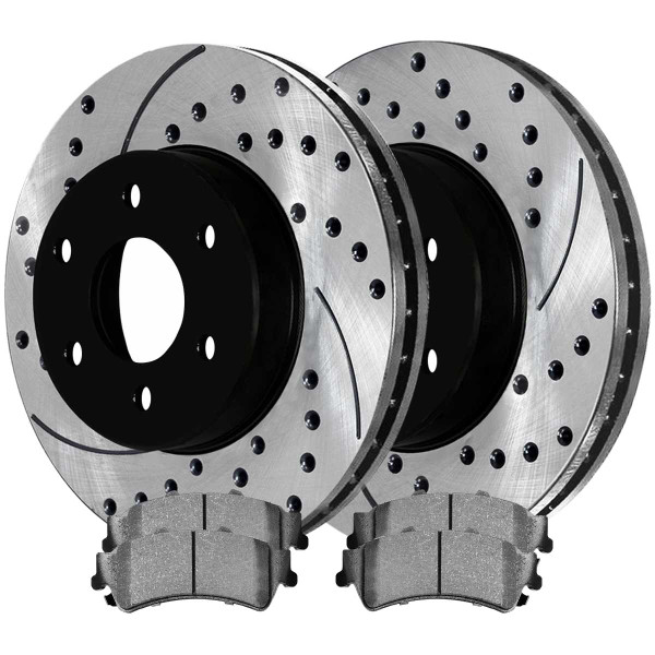 Rear Ceramic Brake Pad and Performance Rotor Bundle 325mm Rotor Diameter 85mm Height - Part # SCDPR6506865068792