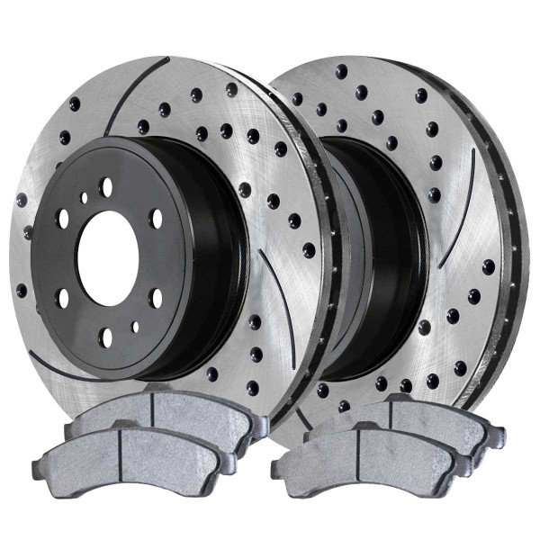 Front Ceramic Brake Pad and Performance Rotor Bundle - Part # SCDPR6507165071882