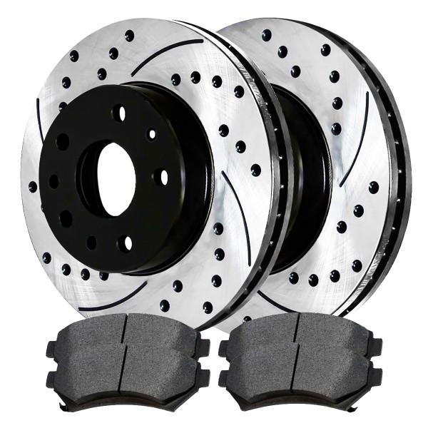 [Set] 2 Drilled & Slotted Performance Brake Rotors & 1 Set Ceramic Brake Pads - Part # SCDPR6508465084699
