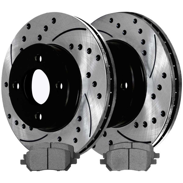 Front Ceramic Brake Pad and Performance Rotor Bundle 4 Stud - Part # SCDPR6508565085956
