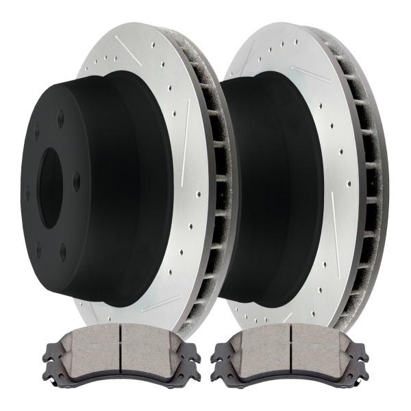Rear Ceramic Brake Pad and Performance Rotor Bundle 330mm Rotor Diameter 96mm Height 6 Stud - Part # SCDPR6508665086834