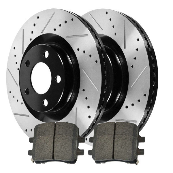 Front Ceramic Brake Pad and Performance Drilled and Slotted Rotor Bundle - Part # SCDPR65095650951028
