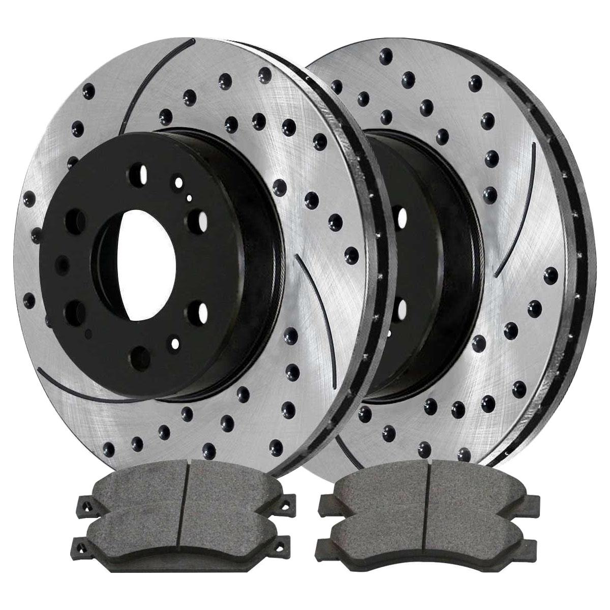 AutoShack BRKPKG0468 Front Drilled and Slotted Brake Rotors and Ceramic Pads