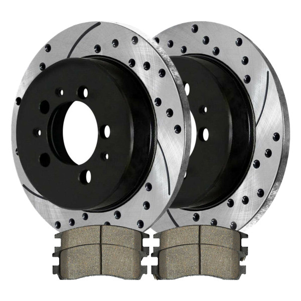 Rear Ceramic Brake Pad and Performance Drilled and Slotted Rotor Bundle - Part # SCDPR6512765127698