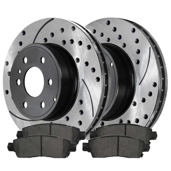 Rear Ceramic Brake Pad and Performance Rotor Bundle - Part # SCDPR6515365153883