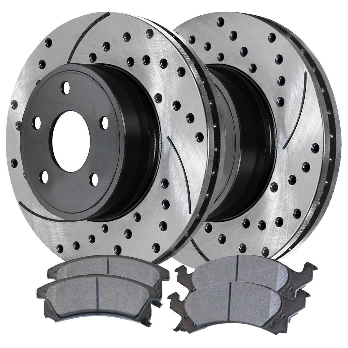 AutoShack PR65041DSZPR Pair of 2 Rear Driver and Passenger Side Drilled and Slotted Disc Brake Rotors Replacement for 2000-2005 Chevrolet Impala 1999-2004 2005 Pontiac Grand Am 1997-2003 Grand Prix