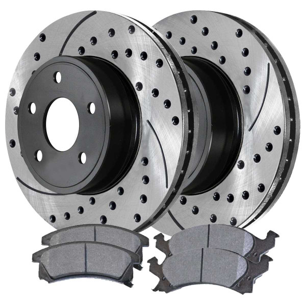Front Ceramic Brake Pad and Performance Rotor Bundle - Part # SCDPR65826582673
