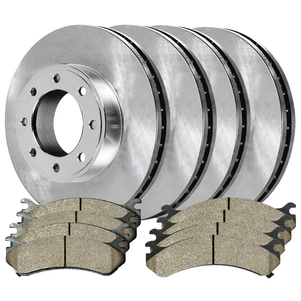 Front and Rear Ceramic Brake Pad and Rotor Bundle 330.4mm by 90mm Rear Rotor with 4.84 Inch Center Hole - Part # SCDR187