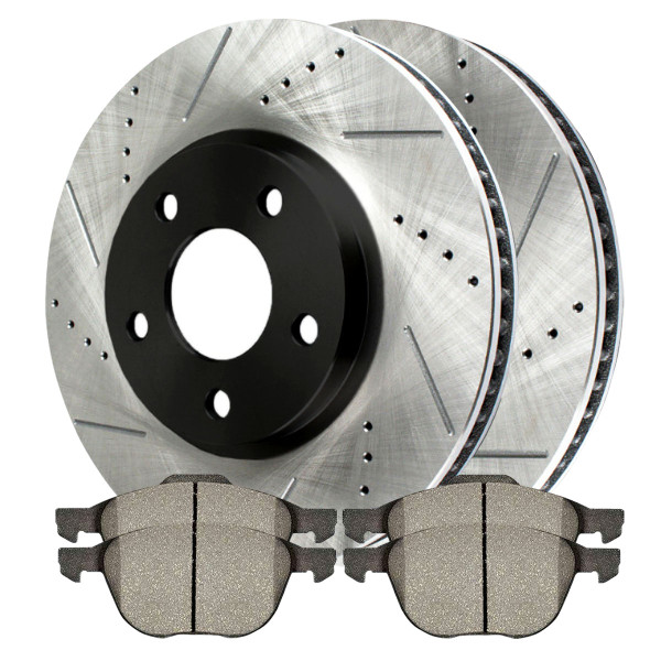 Front Semi Metallic Brake Pad and Performance Rotor Bundle - Part # SMK1044-PR41375RL