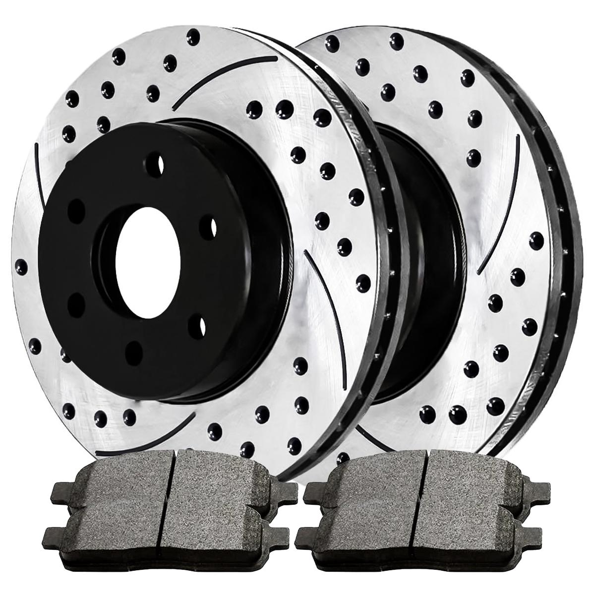 Auto Shack SMK1083-PR64111RL Front Drilled and Slotted Brake Rotors and Semi Metallic Pads