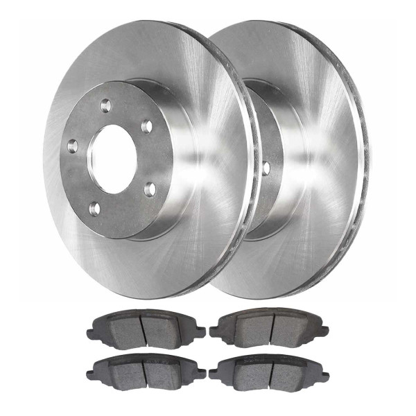 [Front Set] 2 Brake Rotors & 1 Set Semi Metallic Brake Pads - Part # SMK1285-R63039