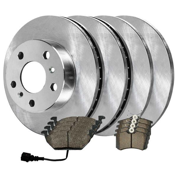 Front and Rear Semi Metallic Brake Pad and Rotor Bundle 232mm Rear Rotor Diameter 280mm Front Rotor Diameter - Part # SMK34044145