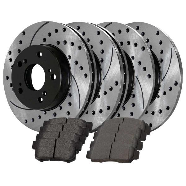 Front and Rear Semi Metallic Brake Pad and Performance Rotor Bundle 11.8 Inch Front Rotor Diameter - Part # SMK537PR41277