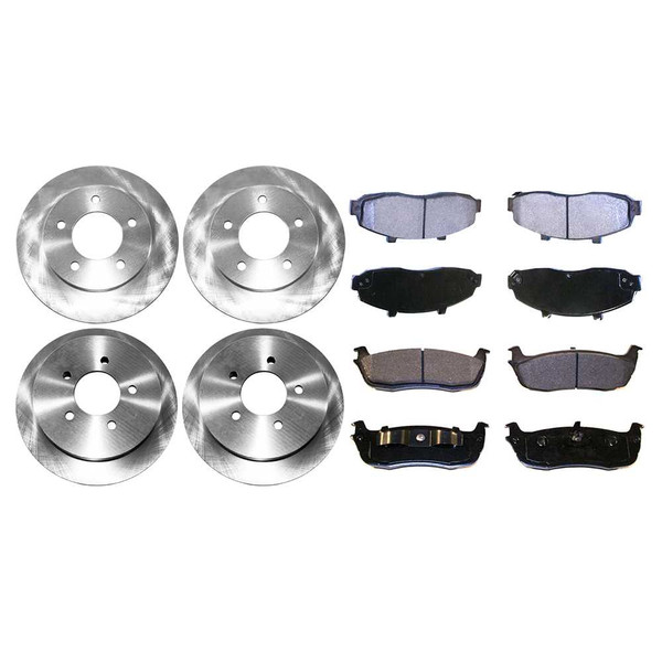 [Front & Rear Set] 4 Brake Rotors & 2 Sets Semi Metallic Brake Pads - Part # SMK67964044