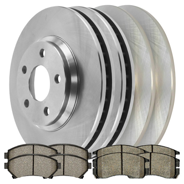 [Front & Rear Set] 4 Brake Rotors & 2 Sets Semi Metallic Brake Pads - Part # SMK6991039