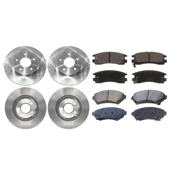 [Front & Rear Set] 4 Brake Rotors & 2 Sets Semi Metallic Brake Pads - Part # SMK6998909