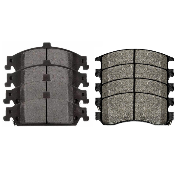 Front and Rear Semi Metallic Brake Pad Bundle 4 Wheel Disc - Part # SMK727-698