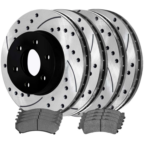 [Front & Rear Set] 4 Drilled & Slotted Performance Brake Rotors & 2 Sets Semi Metallic Brake Pads - Part # SMK785PR65056