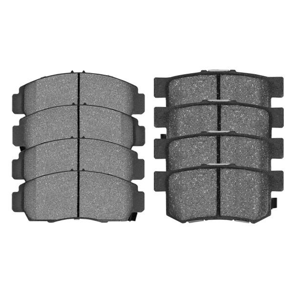 Front and Rear Semi Metallic Brake Pad Bundle 4 Wheel Disc - Part # SMK787-537