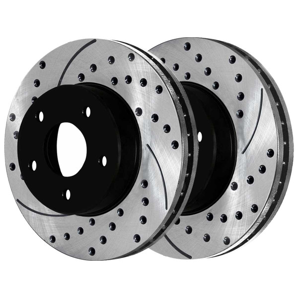 Front and Rear Semi Metallic Brake Pad and Performance Drilled and Slotted Rotor Bundle - Part # SMK791PR62120