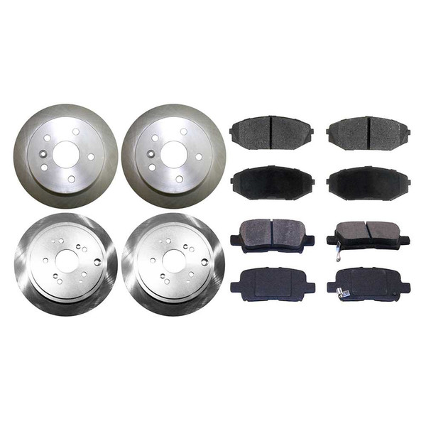 [Front & Rear Set] 4 Brake Rotors & 2 Sets Semi Metallic Brake Pads - Part # SMK7931128