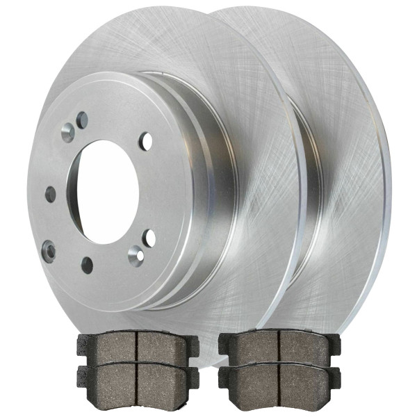[Rear Set] 2 Brake Rotors & 1 Set Semi Metallic Brake Pads - Part # SMK813-R41426