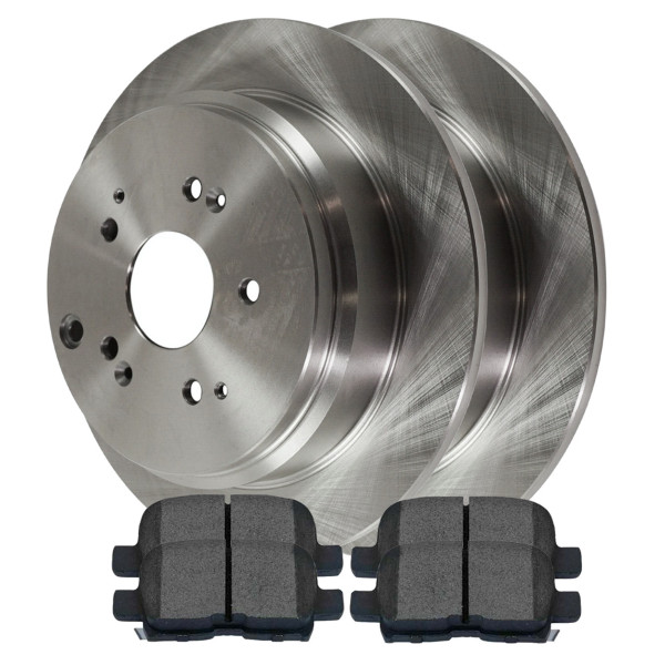 [Rear Set] 2 Brake Rotors & 1 Set Semi Metallic Brake Pads - Part # SMK865-R41319
