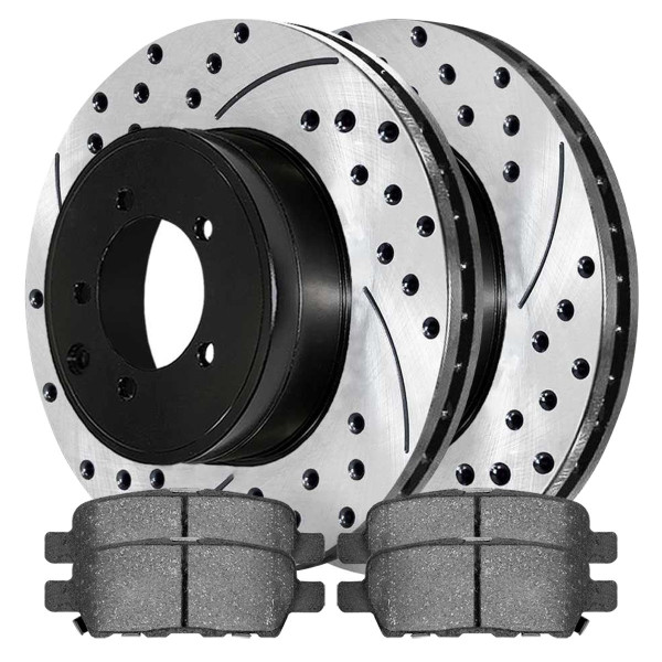 Rear Semi Metallic Brake Pad and Performance Rotor Bundle - Part # SMK905-PR41351LR