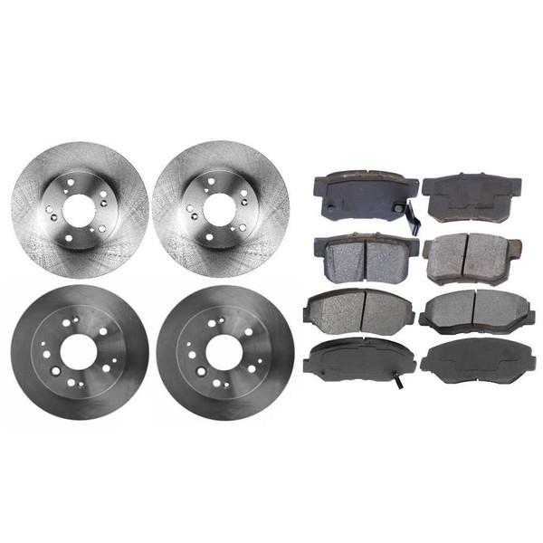 Front Rear Set Disc Brake Rotors and Metallic Pads for 2003-2009 Honda Element - Part # SMK9143346
