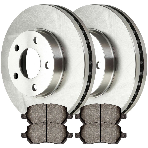 [Front Set] 2 Brake Rotors & 1 Set Semi Metallic Brake Pads - Part # SMK956-R65146