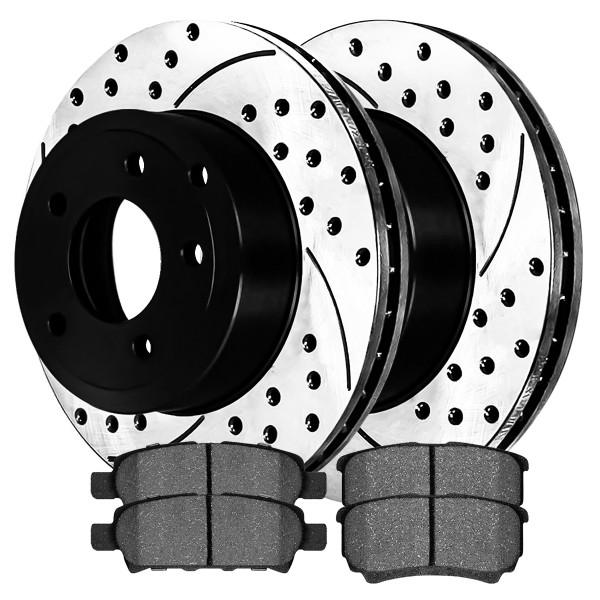 [Set] 2 Drilled & Slotted Performance Brake Rotors & 1 Set Semi Metallic Brake Pads - Part # SMKPR41149411491037