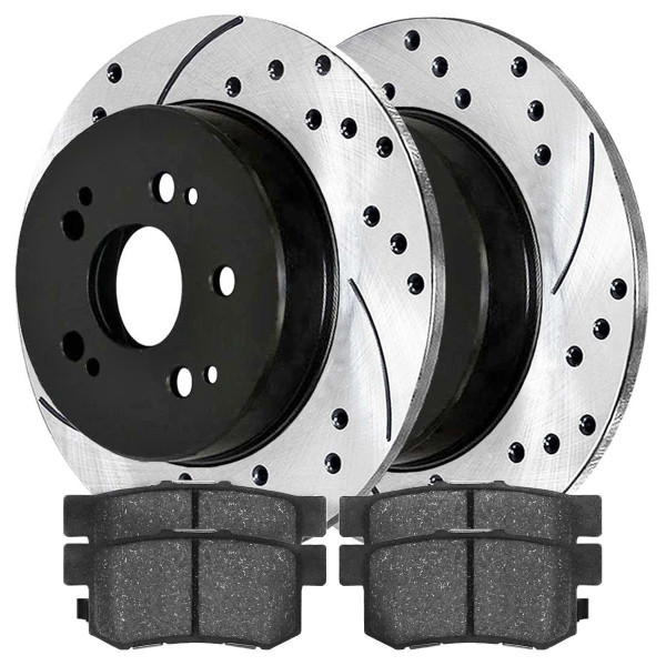 [Set] 2 Drilled & Slotted Performance Brake Rotors & 1 Set Semi Metallic Brake Pads - Part # SMKPR4124741247537
