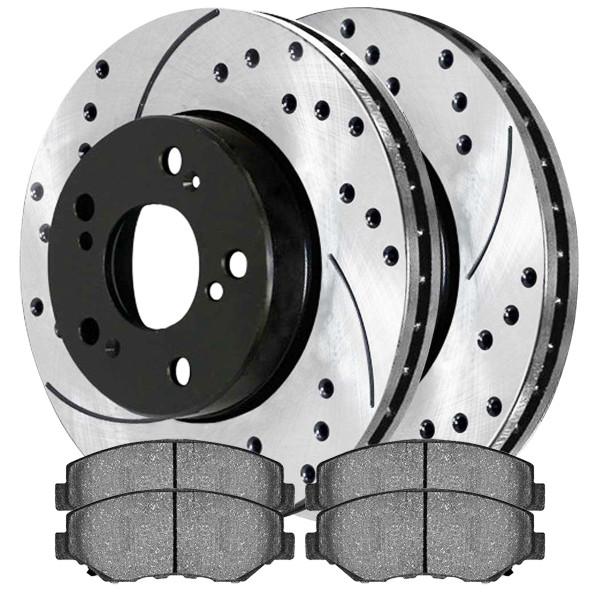 [Set] 2 Drilled & Slotted Performance Brake Rotors & 1 Set Semi Metallic Brake Pads - Part # SMKPR4125941259914