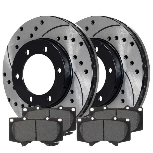 Front Semi Metallic Brake Pad and Performance Rotor Bundle 5.3 Inch Pad Length - Part # SMKPR4126941269976