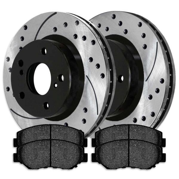 [Set] 2 Drilled & Slotted Performance Brake Rotors & 1 Set Semi Metallic Brake Pads - Part # SMKPR4127741277914