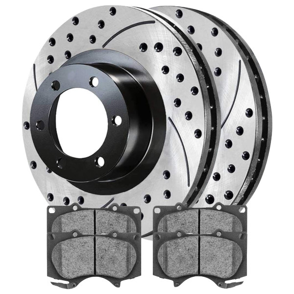 Front Semi Metallic Brake Pad and Performance Drilled and Slotted Rotor Bundle 6 Stud 12.5 Inch Rotor Diameter - Part # SMKPR4132941329976