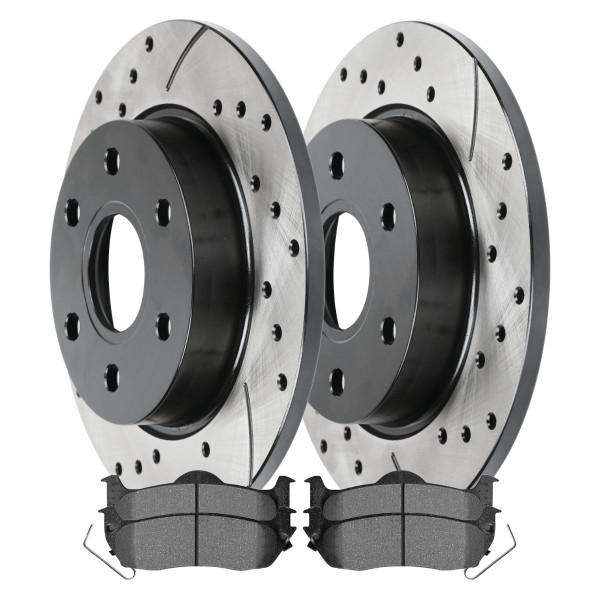 [Set] 2 Drilled & Slotted Performance Brake Rotors & 1 Set Semi Metallic Brake Pads - Part # SMKPR41331413311041