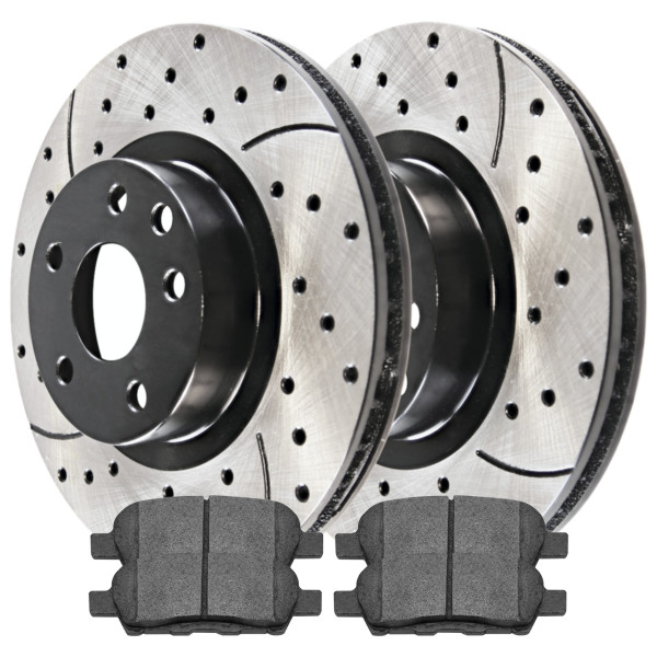 Rear Semi Metallic Brake Pad and Performance Rotor Bundle - Part # SMKPR4138941389905