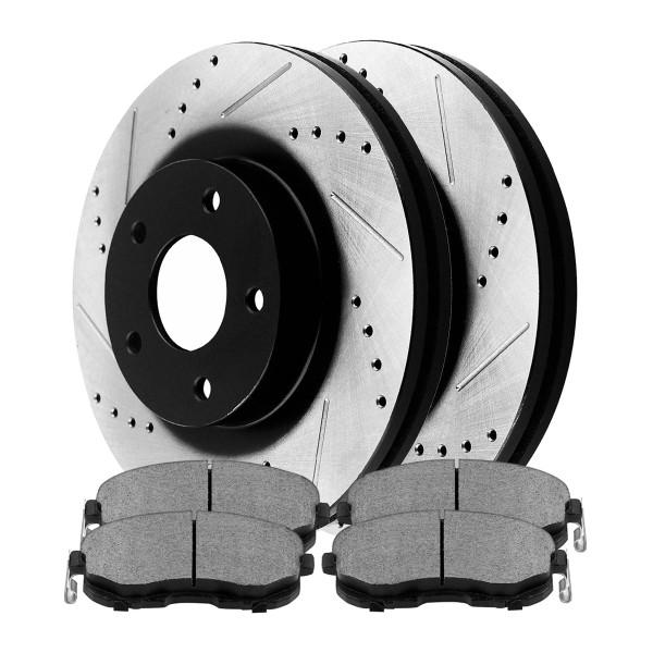 Front Semi Metallic Brake Pad and Performance Rotor Bundle - Part # SMKPR4146641466815