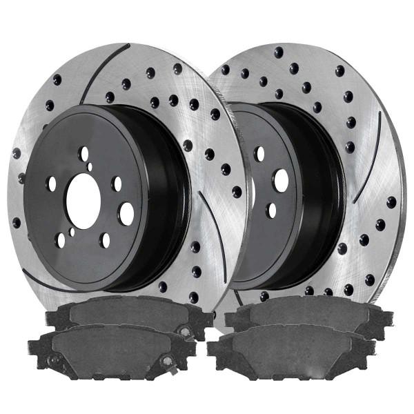 Rear Semi Metallic Brake Pad and Performance Rotor Bundle 277mm Rotor Diameter Solid Rotors - Part # SMKPR41511415111114