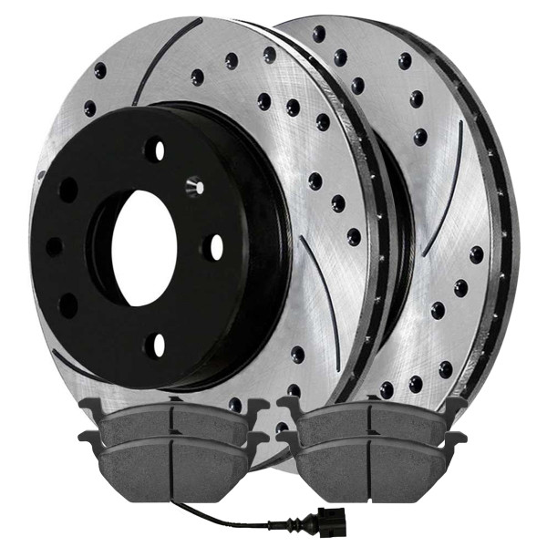 Front Semi Metallic Brake Pad and Performance Rotor Bundle 280mm Rotor Diameter - Part # SMKPR4414544145768A