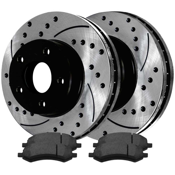 Front Semi Metallic Brake Pad and Performance Drilled and Slotted Rotor Bundle 5 Stud - Part # SMKPR63007630071084