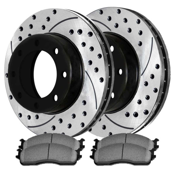 Front Semi Metallic Brake Pad and Performance Drilled and Slotted Rotor Bundle 8 Stud - Part # SMKPR6301463014965