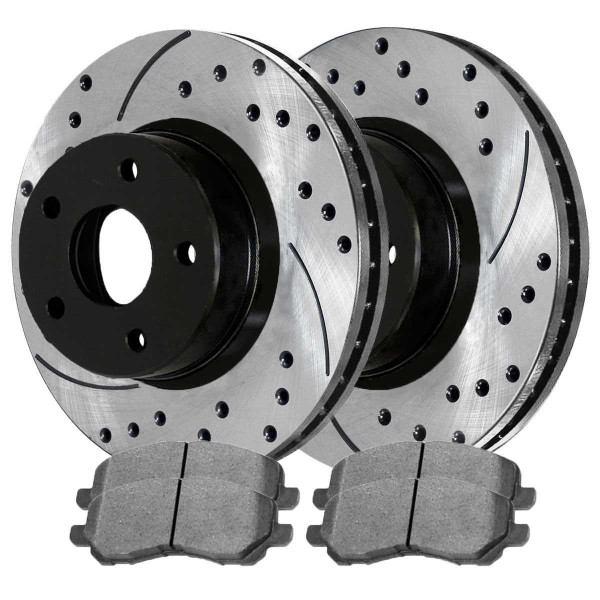 Front Semi Metallic Brake Pad and Performance Rotor Bundle 11.57 Inch Rotor Diameter - Part # SMKPR6304063040866